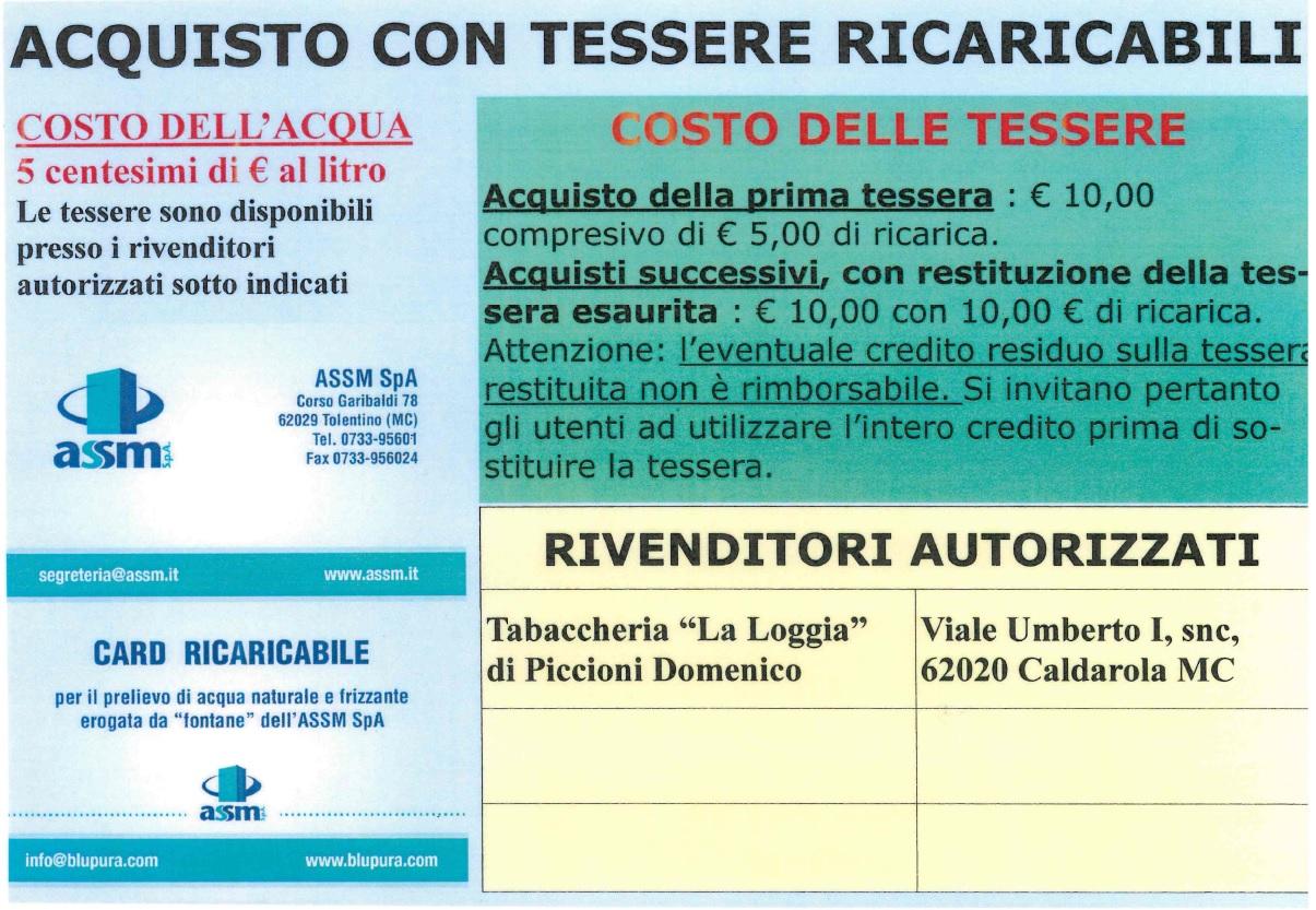 ACQUISTO TESSERE RICARICABILI